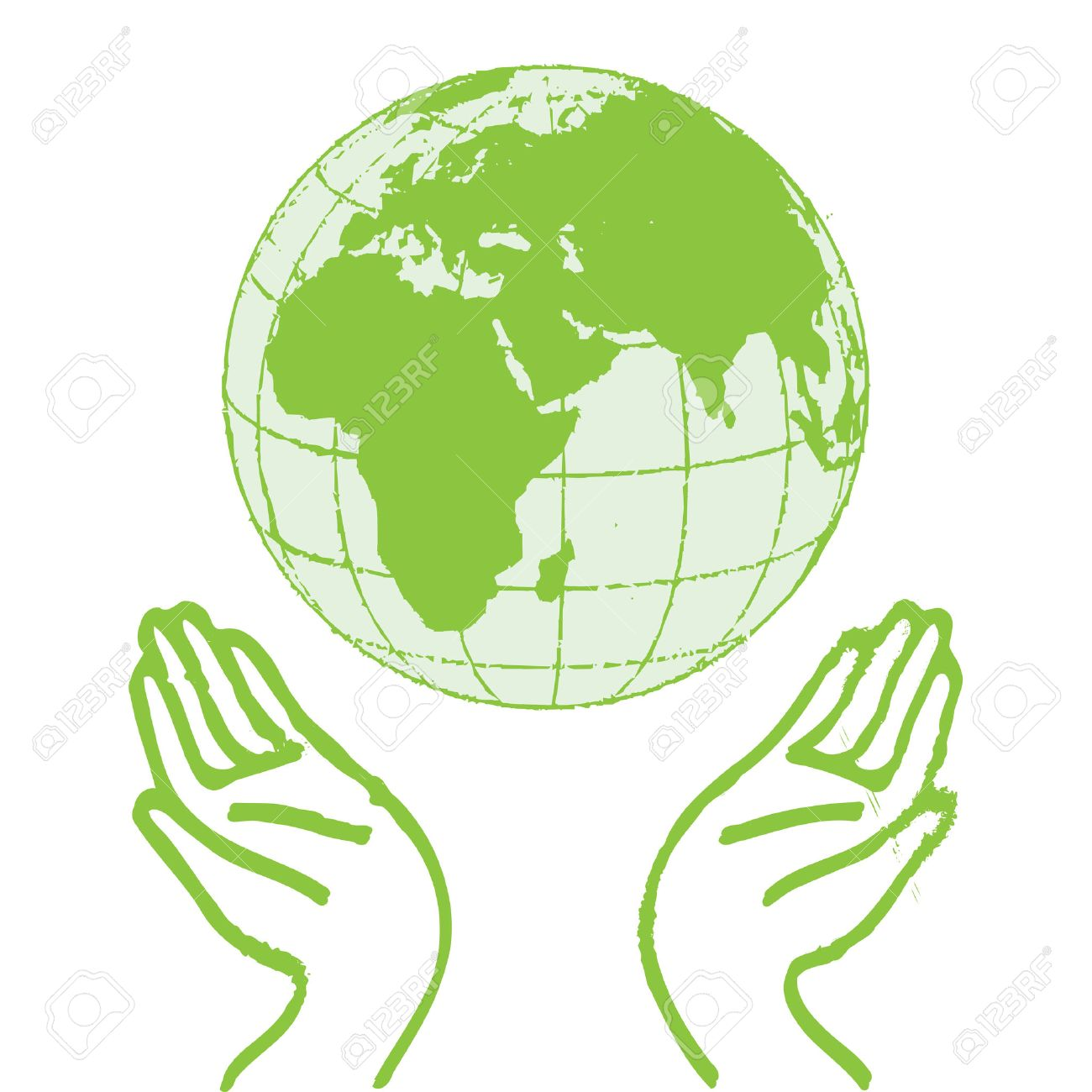 Hands Holding The Green Earth Stock Vector - 8542476