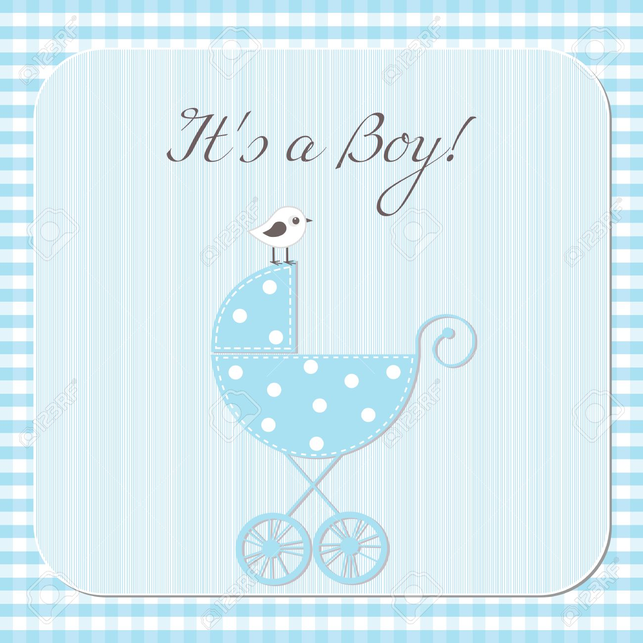 Baby Boy Arrival Announcement Card Royalty Free Cliparts, Vectors ...
