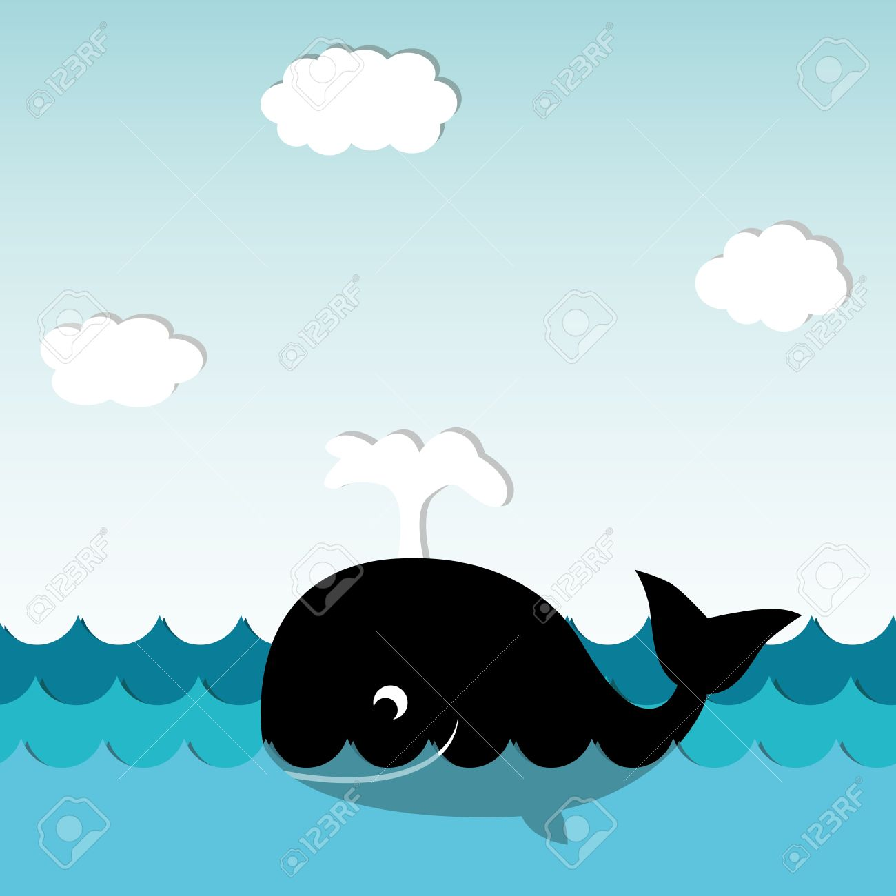 Cute whale in water cartoon isolated illustration stock photography - Whale Cartoon Cute Smiling Whale Illustration