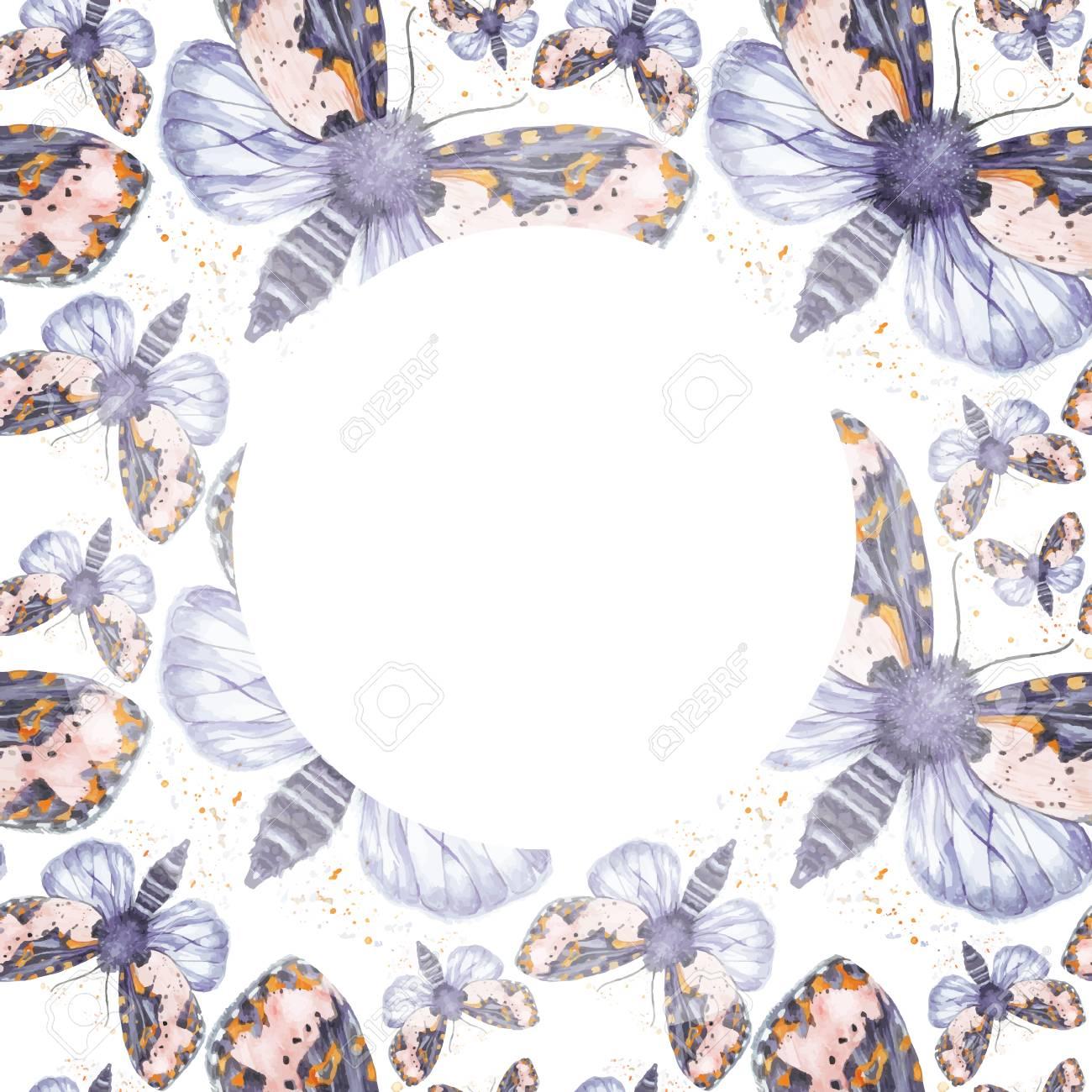 Gemalte Zeichnung Aquarell Shaggy Schmetterling Bär Nahtlose Muster ...