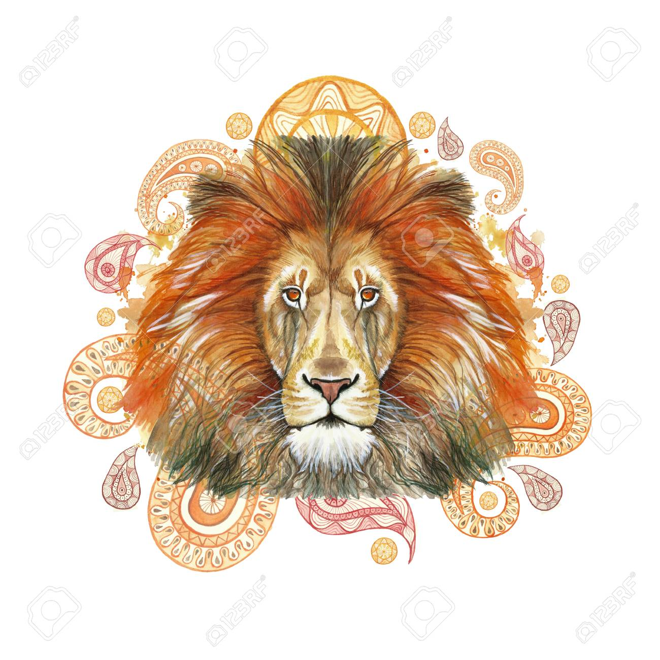 Aquarela Desenho De Um Mamifero Animal Predador Leao Vermelho