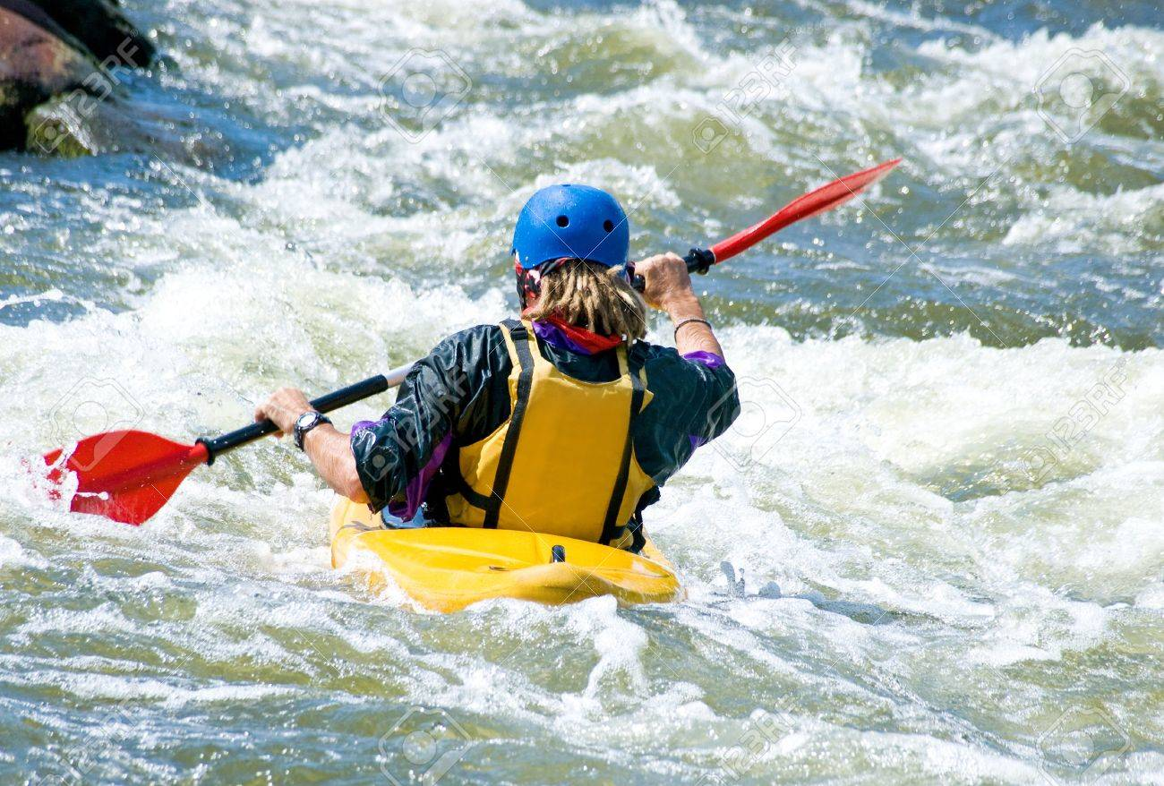 a shot of the kayaker on the rough water Stock Photo - 7161038