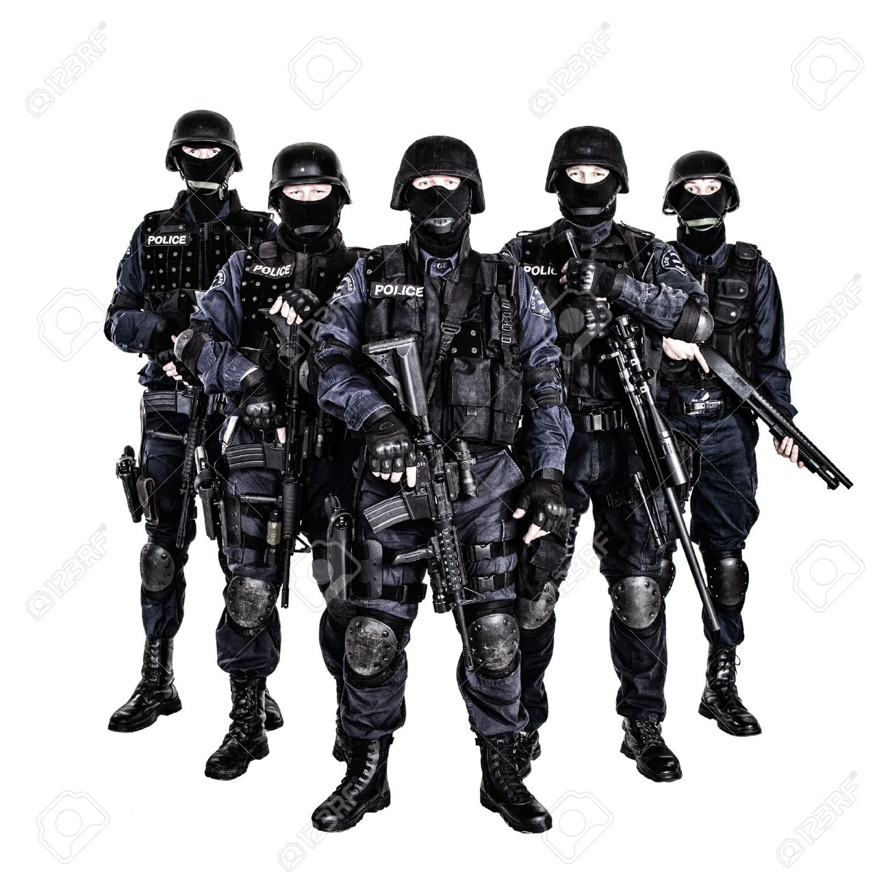 Special Weapons And Tactics (SWAT) Team Officers With Guns Stock ...