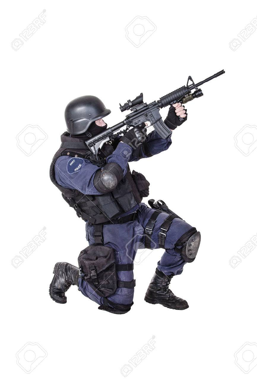 Special Weapons And Tactics Swat Team Officer With His Gun Stock