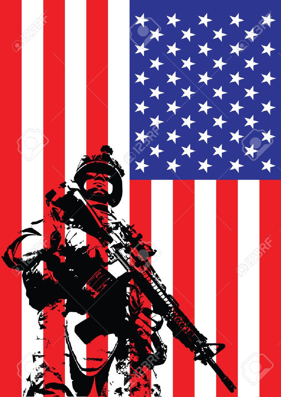 Vector Illustration Of US Marine In Front Of The USA Flag Royalty ... 39819fdcdcd