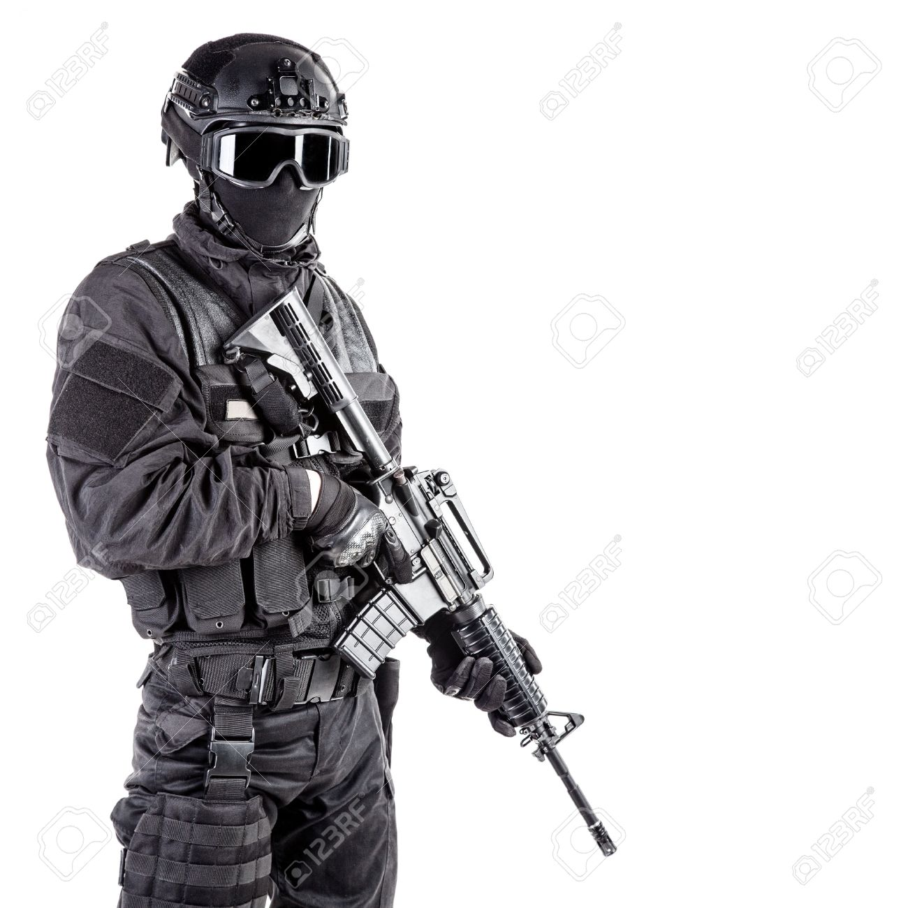 Spec Ops Police Officer SWAT In Black Uniform And Face Mask Stock ...