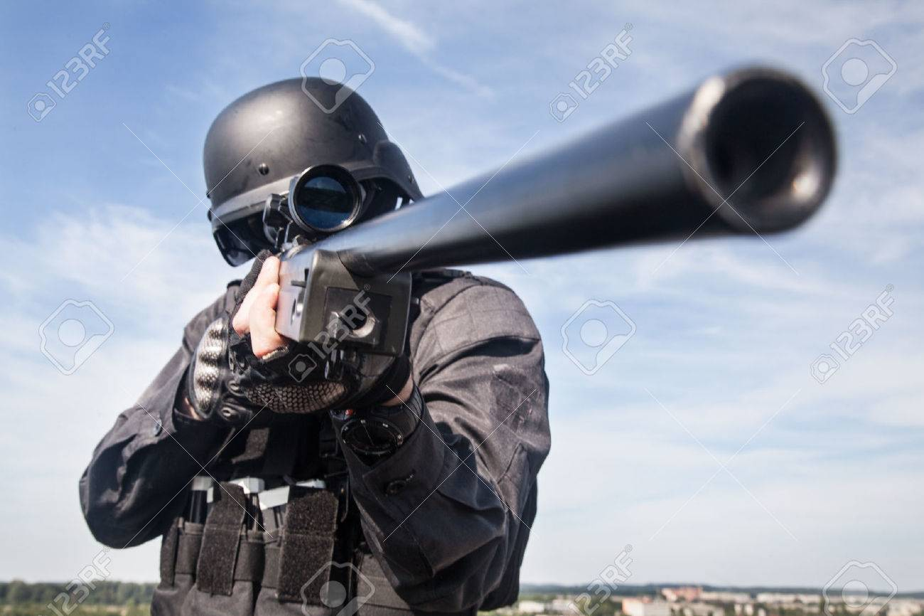 Swat Police Sniper In Black Uniform In Action Stock Photo Picture