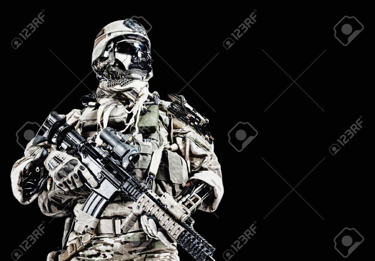 Futuristic mechanical army soldier cyborg with weapons - 53556739
