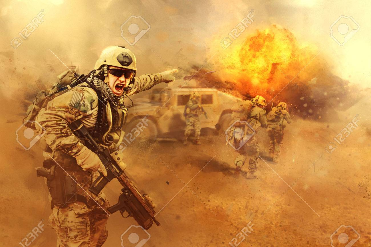 United States Army rangers are attacking the enemy - 53556799