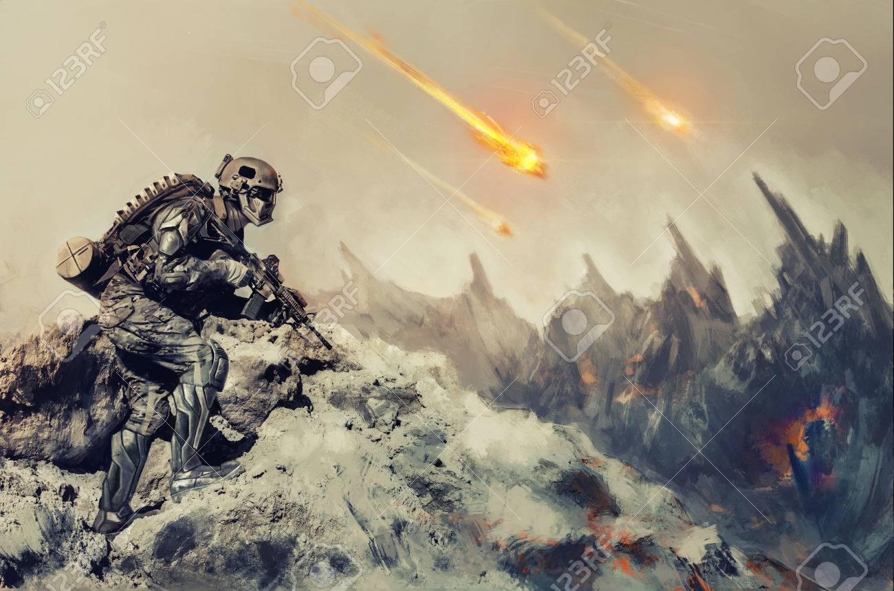 Futuristic mechanical soldier in action on an alien planet - 53556823