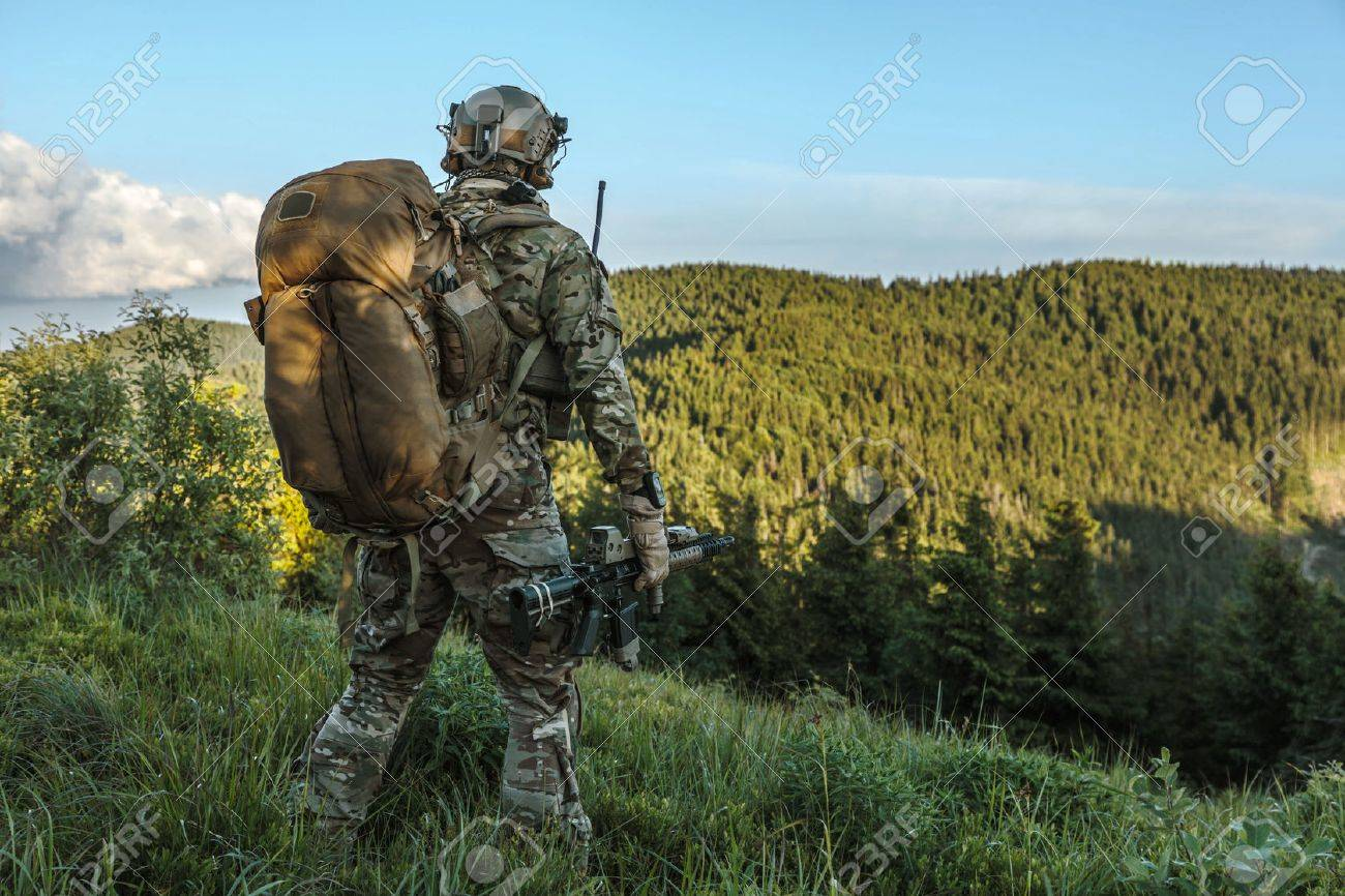 United states army ranger in the mountains - 65795262