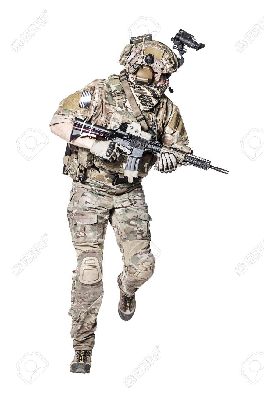Elite member of US Army rangers in combat uniforms with his shirt