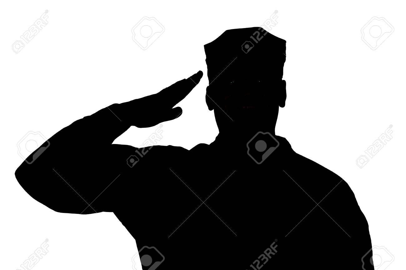 Shoulder silhouette of saluting army soldier in utility cover or cap isolated on white background. Troops hand salute ceremonial greeting, showing respect in army, military funeral honors concept - 107006583