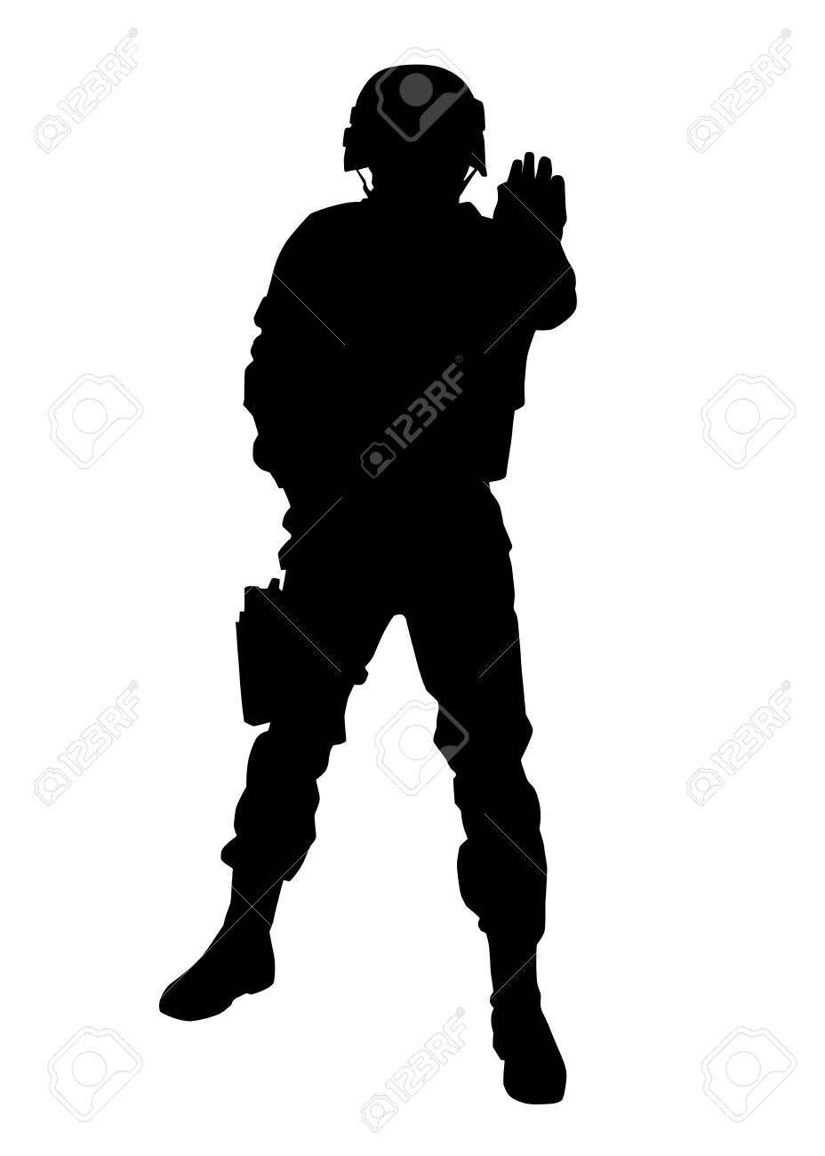 Armed army soldier, special security squad guard, police SWAT