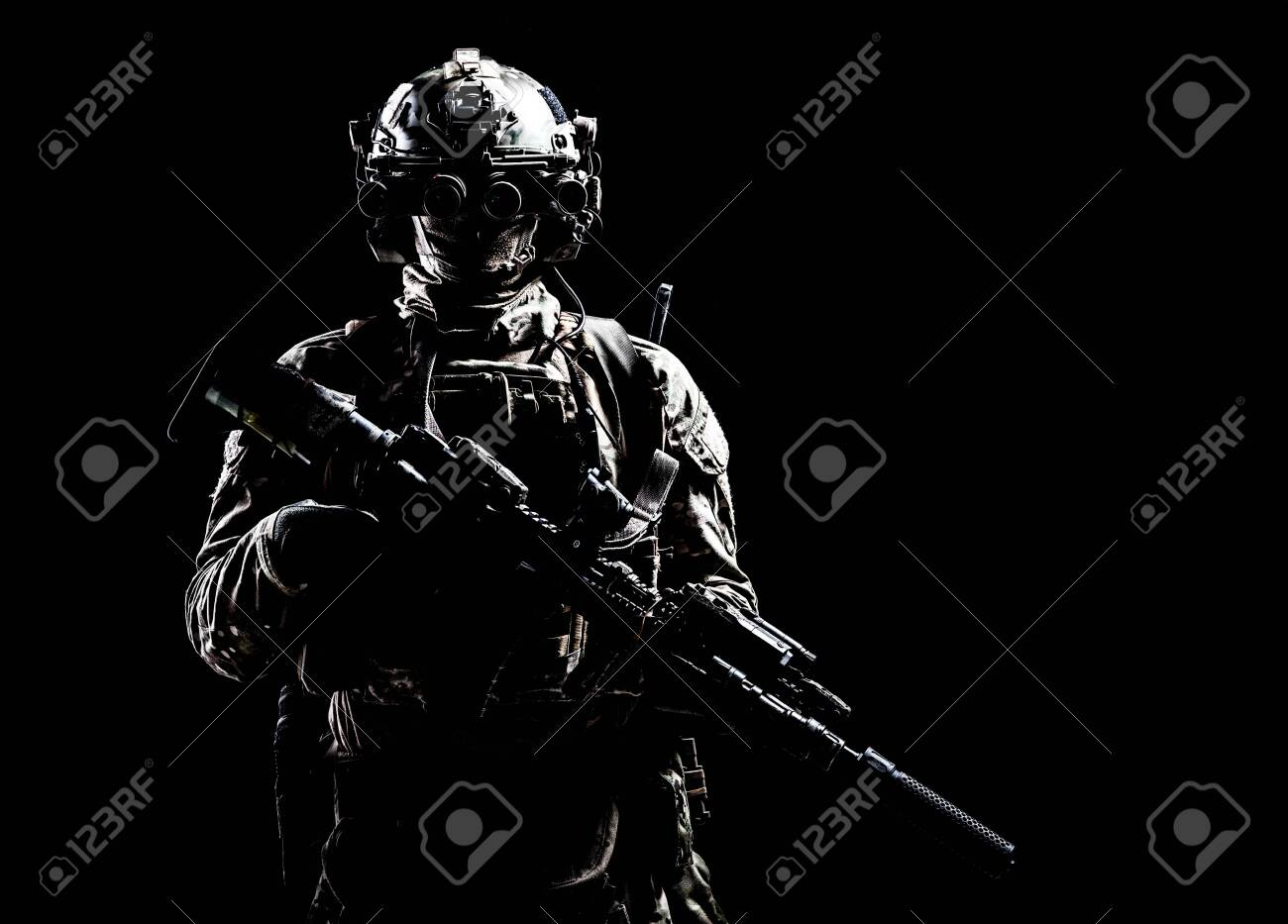 Army special forces shooter low key studio shoot - 129012206