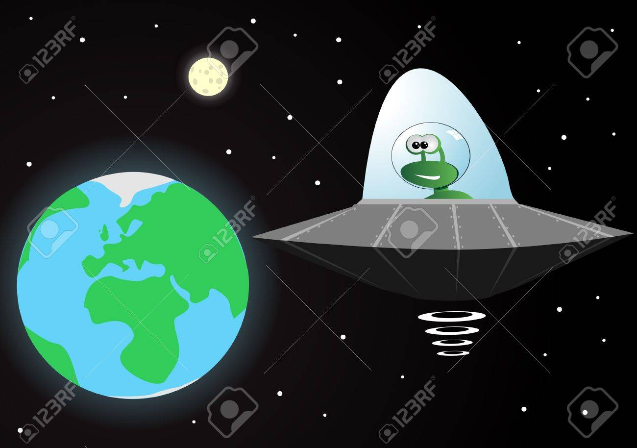 vector illustration of an alien in a spaceship Stock Vector - 8973653