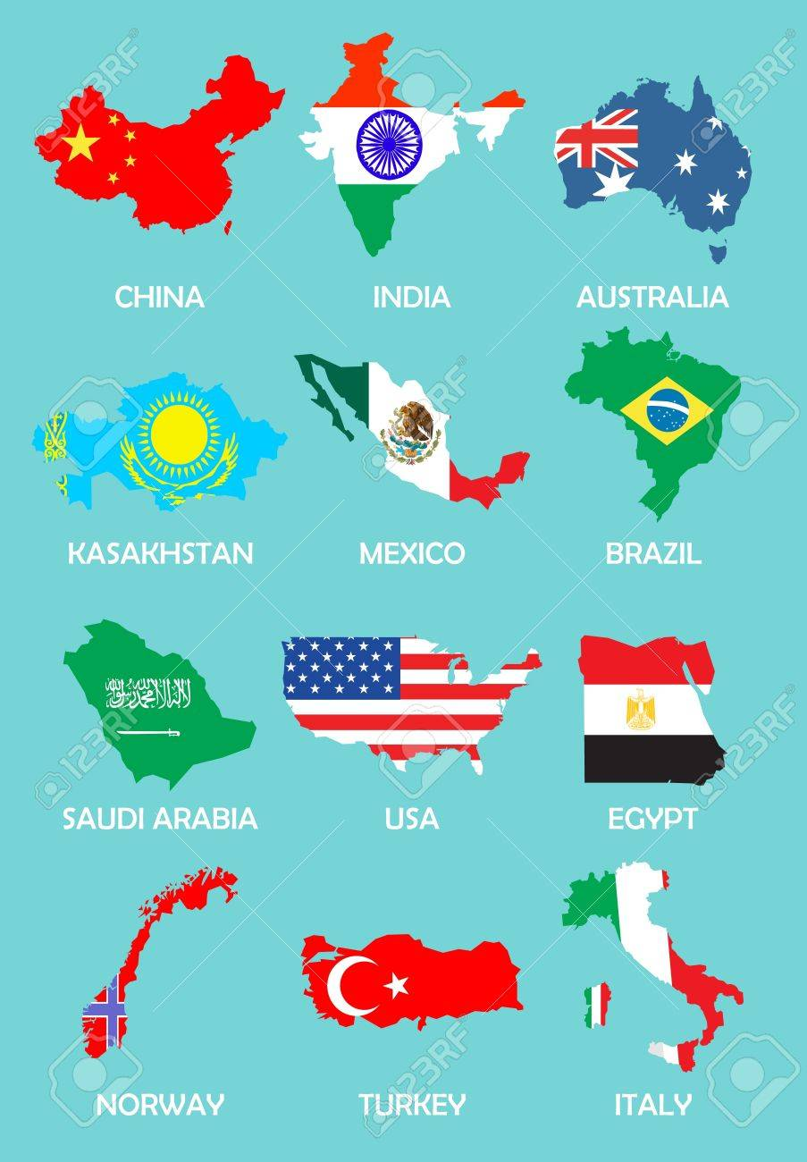 outline maps of the countries with national flags Stock Vector - 8973786
