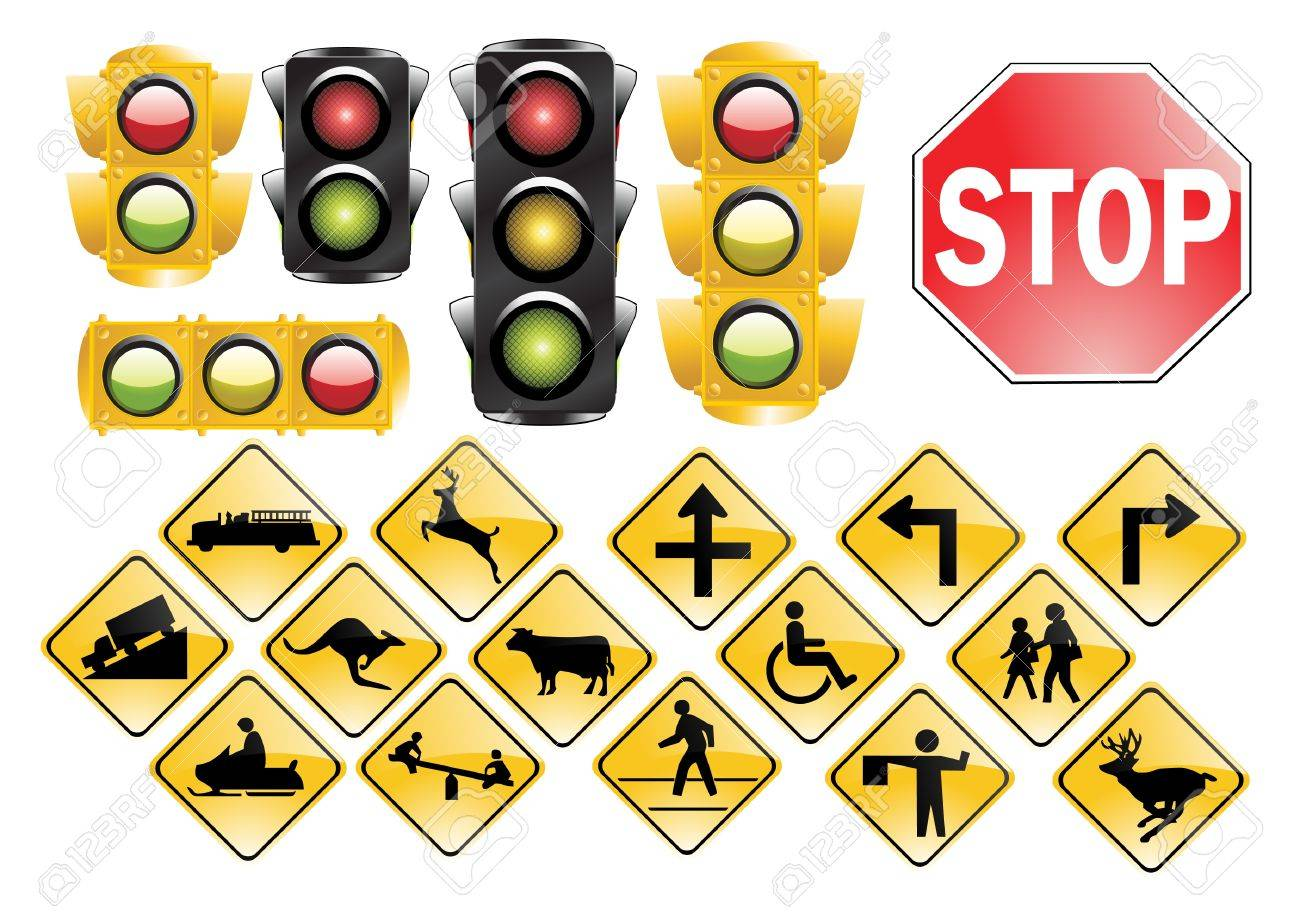 Trafic Lights and signs Stock Vector - 8974309