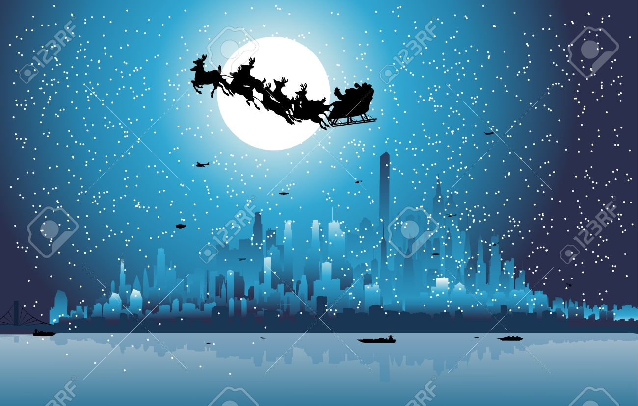Santa Claus riding his sleigh over a city Stock Vector - 8974306