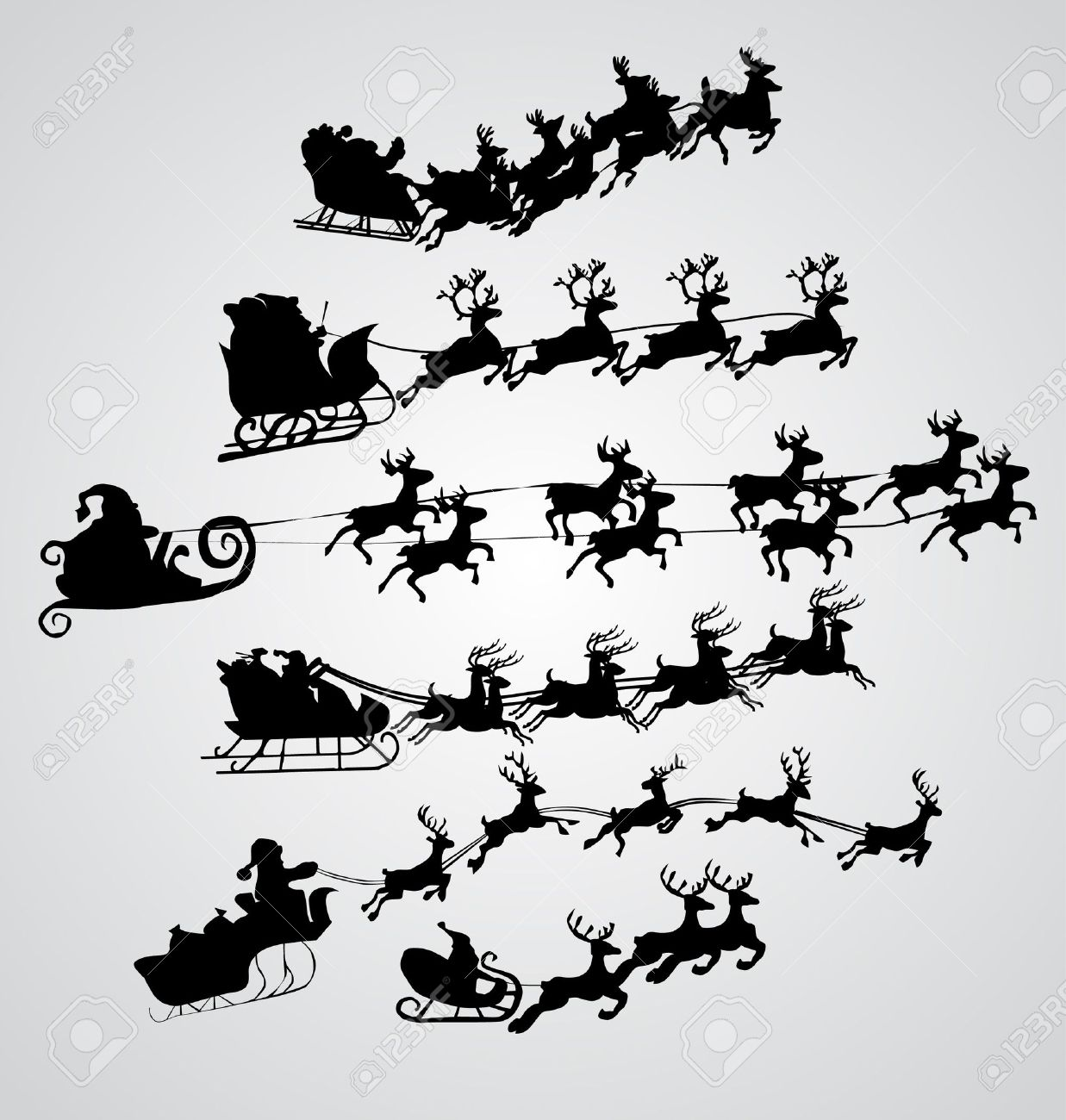 Silhouette Illustration of Flying Santa and Christmas Reindeer Stock Vector - 8974234