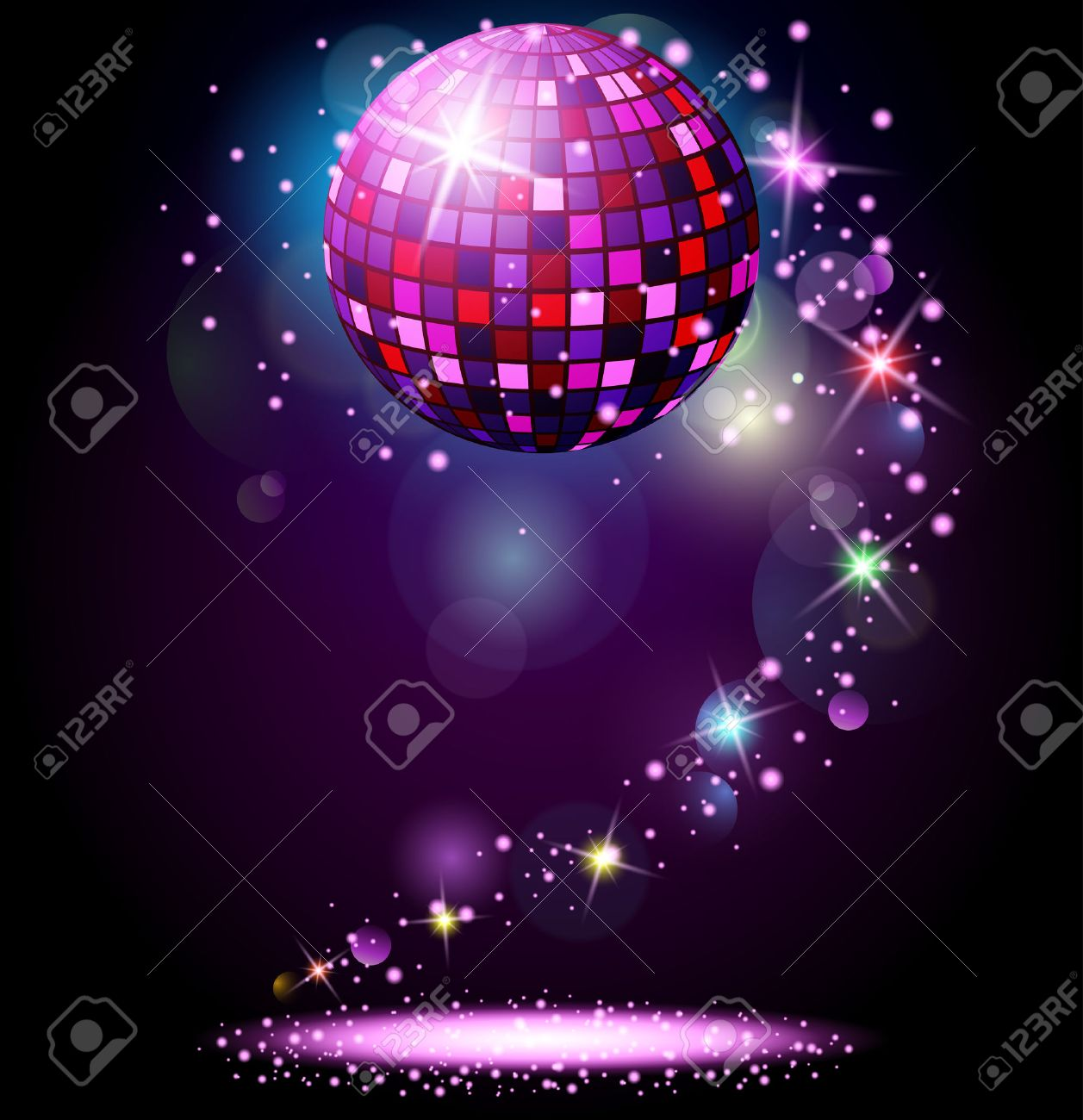 Sparkling disco ball. Night party - 51668892
