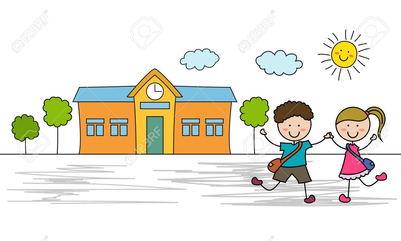 kids go to school royalty free cliparts vectors and stock rh 123rf com kid going to school clipart going to school clipart black and white