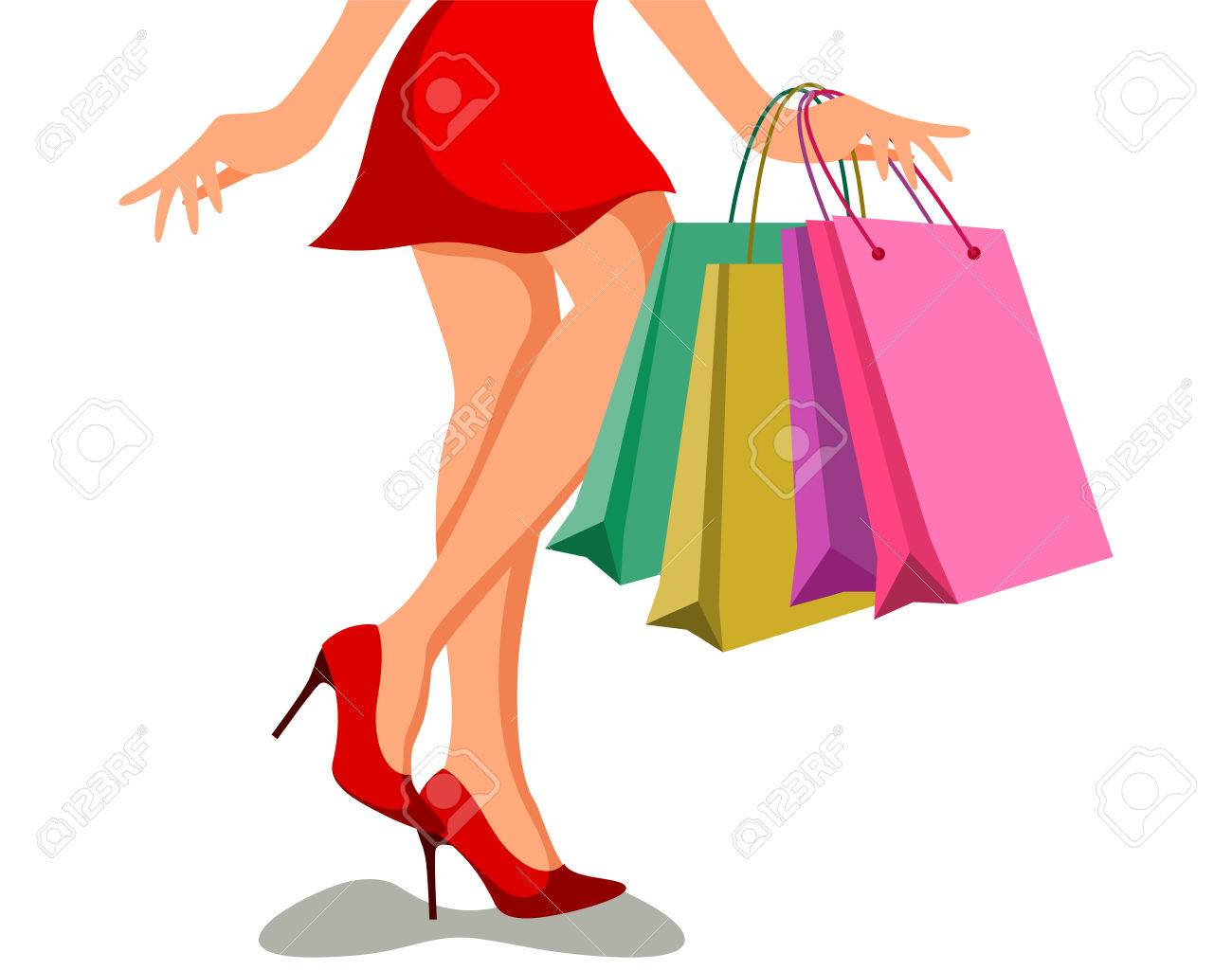 beautiful cartoon girls shopping royalty free cliparts vectors and rh 123rf com Personal Shopper Advertisement Holiday Shoppers Clip Art