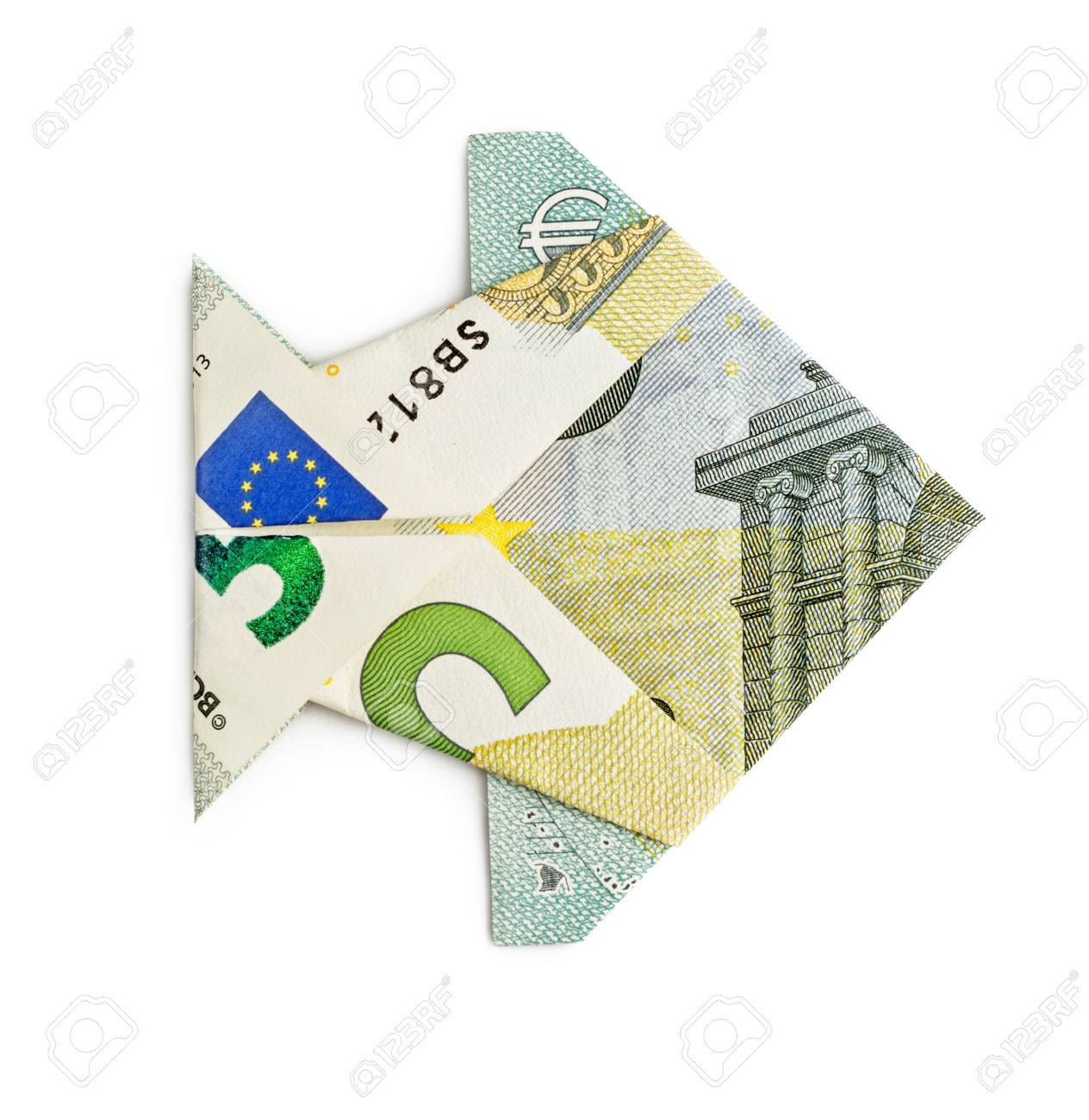 Euro origami fish isolated on white background moneygami catch euro origami fish isolated on white background moneygami catch stock photo 50378035 jeuxipadfo Choice Image
