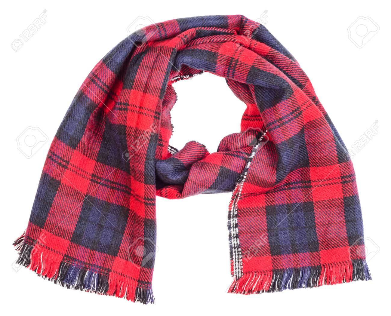 a5a00a8419a4 Banque d images - Laine tartan rouge plaid écharpe isolé sur fond blanc