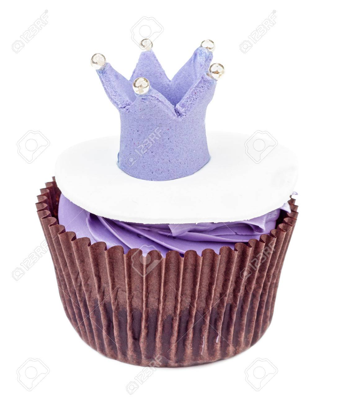 purple cupcake with crown isolated on white background queen