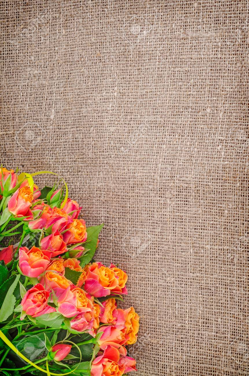 Roses Bouquet On Rustic Jute Background Flowers Backgrounds