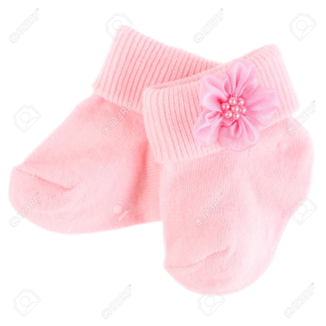 85e7b168df7f6 Pair of pink baby girl socks isolated over a white background Stock Photo -  103773418