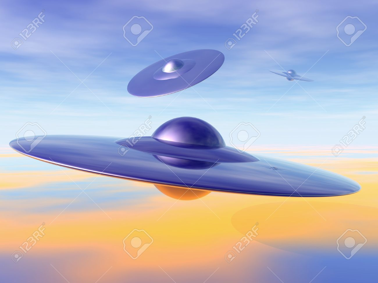 UFO - alien invasion. 3D-illustration of flying saucers. Stock Photo - 10870075