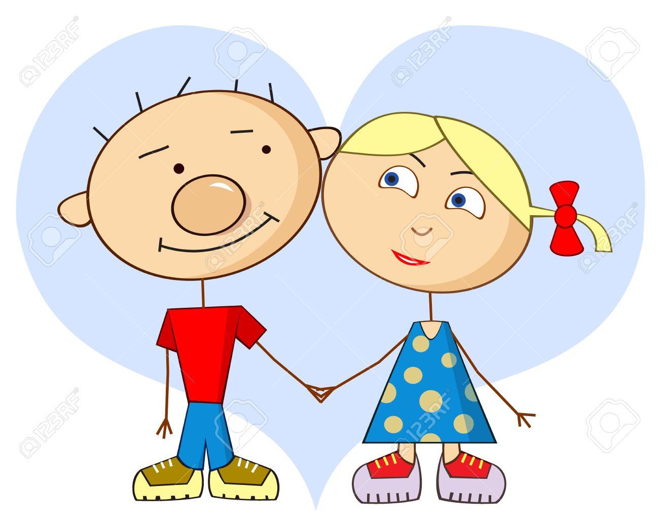 La Historieta Del Amor Arte Vectorial Ingenuo Personajes De Dibujos Animados Un Niño Y Una Niña Los Amantes En El Fondo Del Corazón