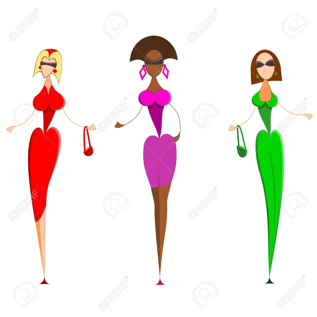 Fashion models.  Illustration of three fashion models. Women in red, blue and green dresses. Stock Vector - 10959788