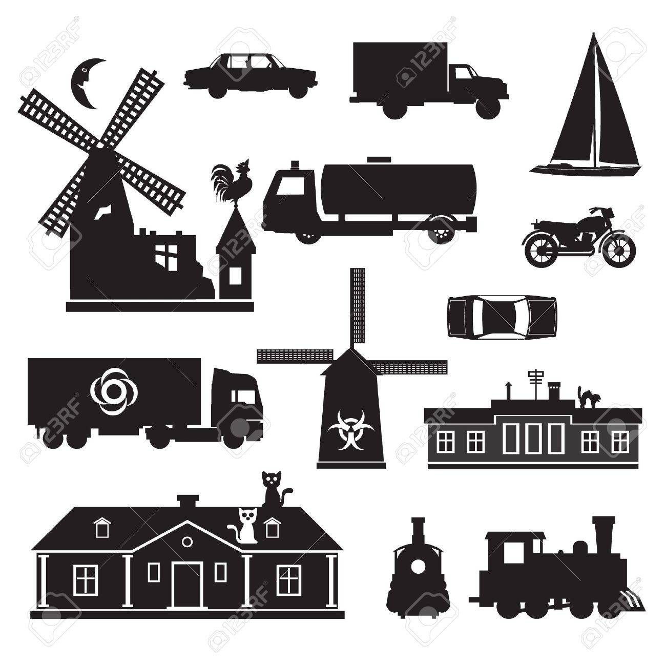 Silhouette - Miscellaneous. silhouette clip art of transportation and other. Black icons of various objects. Stock Vector - 10959811