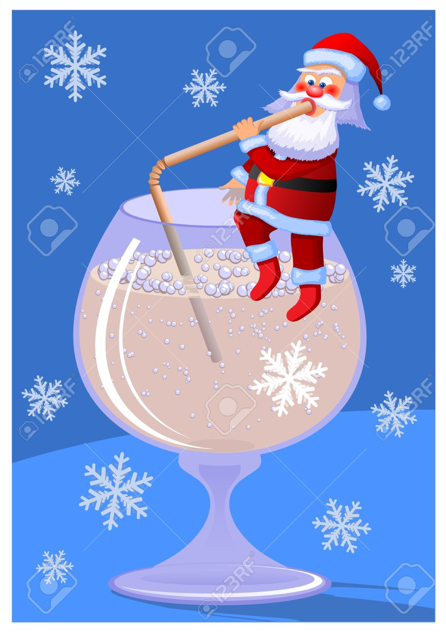 Santa Claus. Santa Claus sitting on a goblet and drink champagne. Little cartoon Santa Claus. Christmas card. Stock Vector - 10959922
