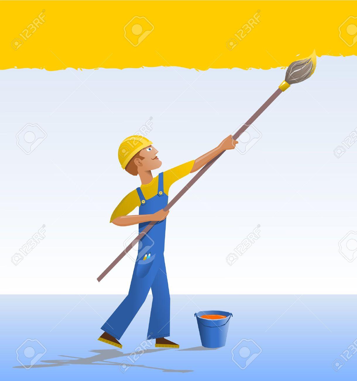 painter and decorator cartoon house painter the decorator paints a wall with a brush - Decorator