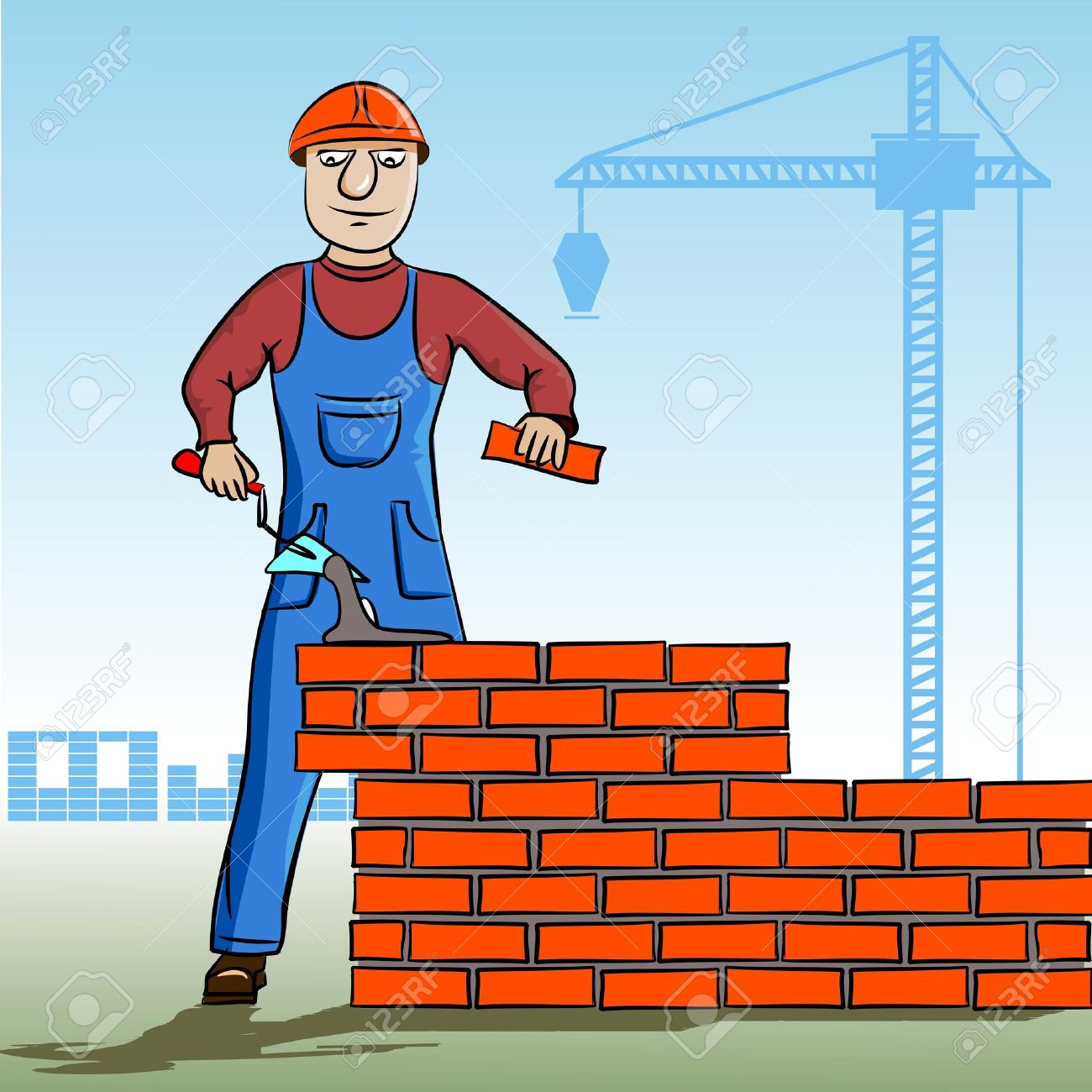 Builder working. Working mason makes laying bricks. In the background, cranes, construction. Cartoon character of the worker. Stock Vector - 11310661