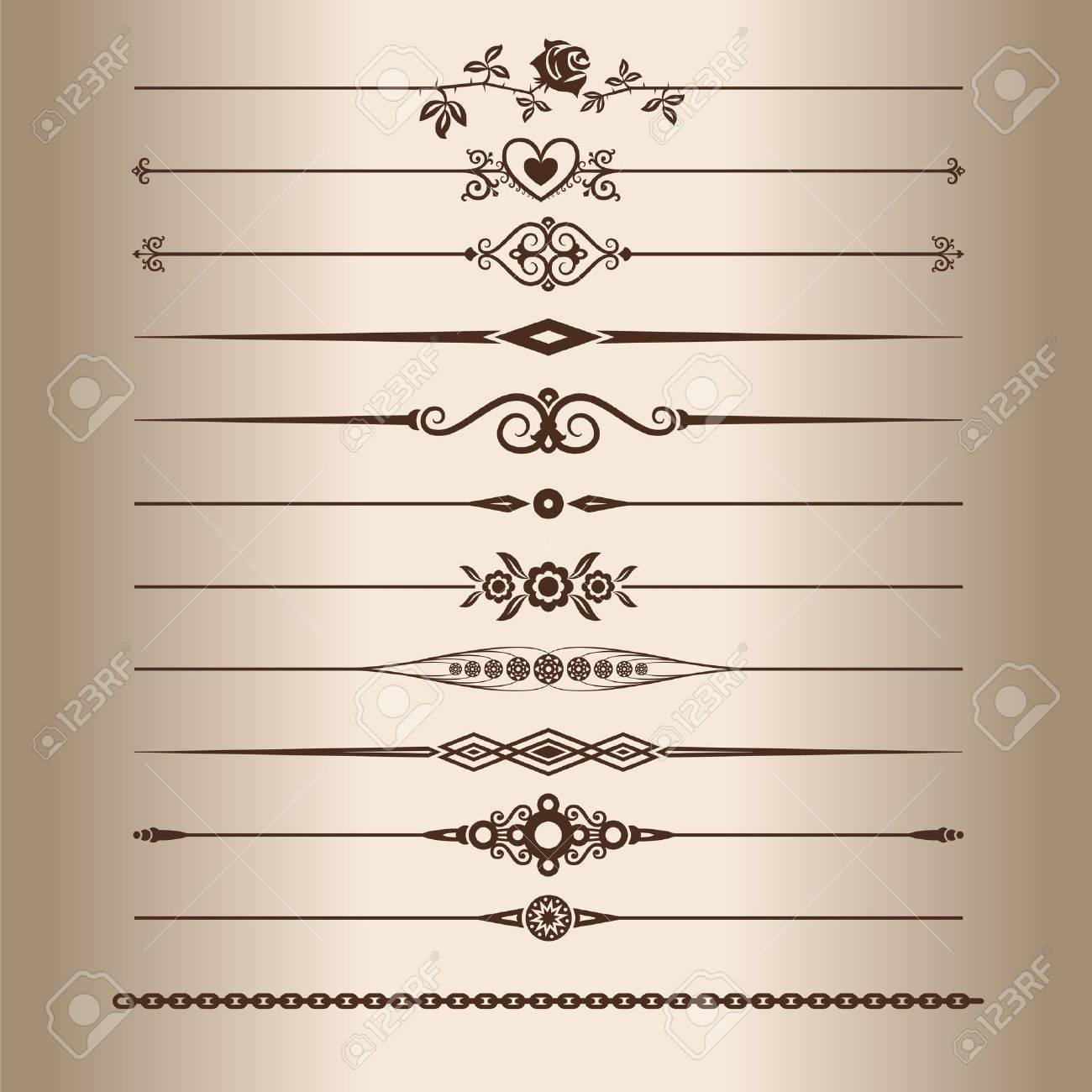 decorative lines elements for a vintage design decorative