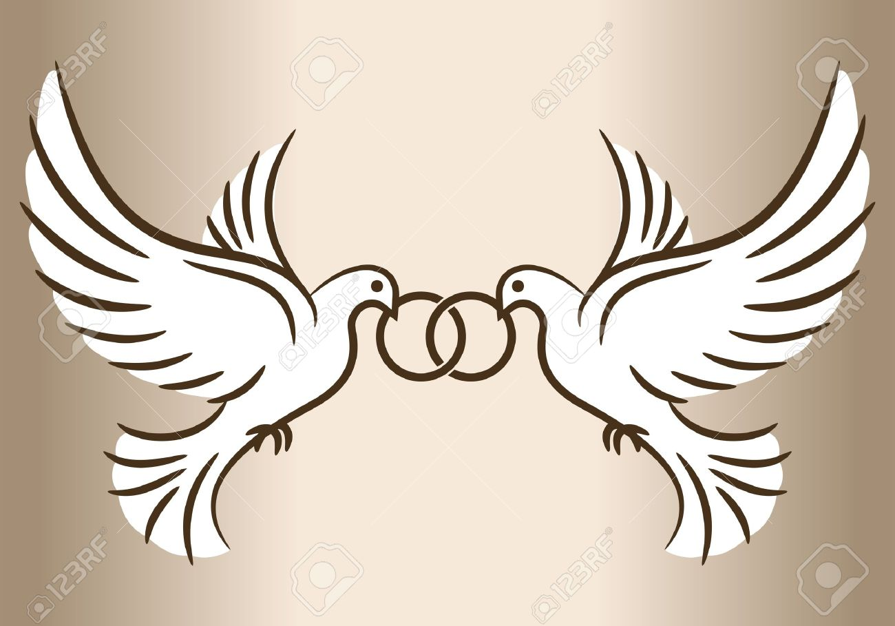 Two Doves Stylized Pigeons And Wedding Rings Vector Illustration Stock