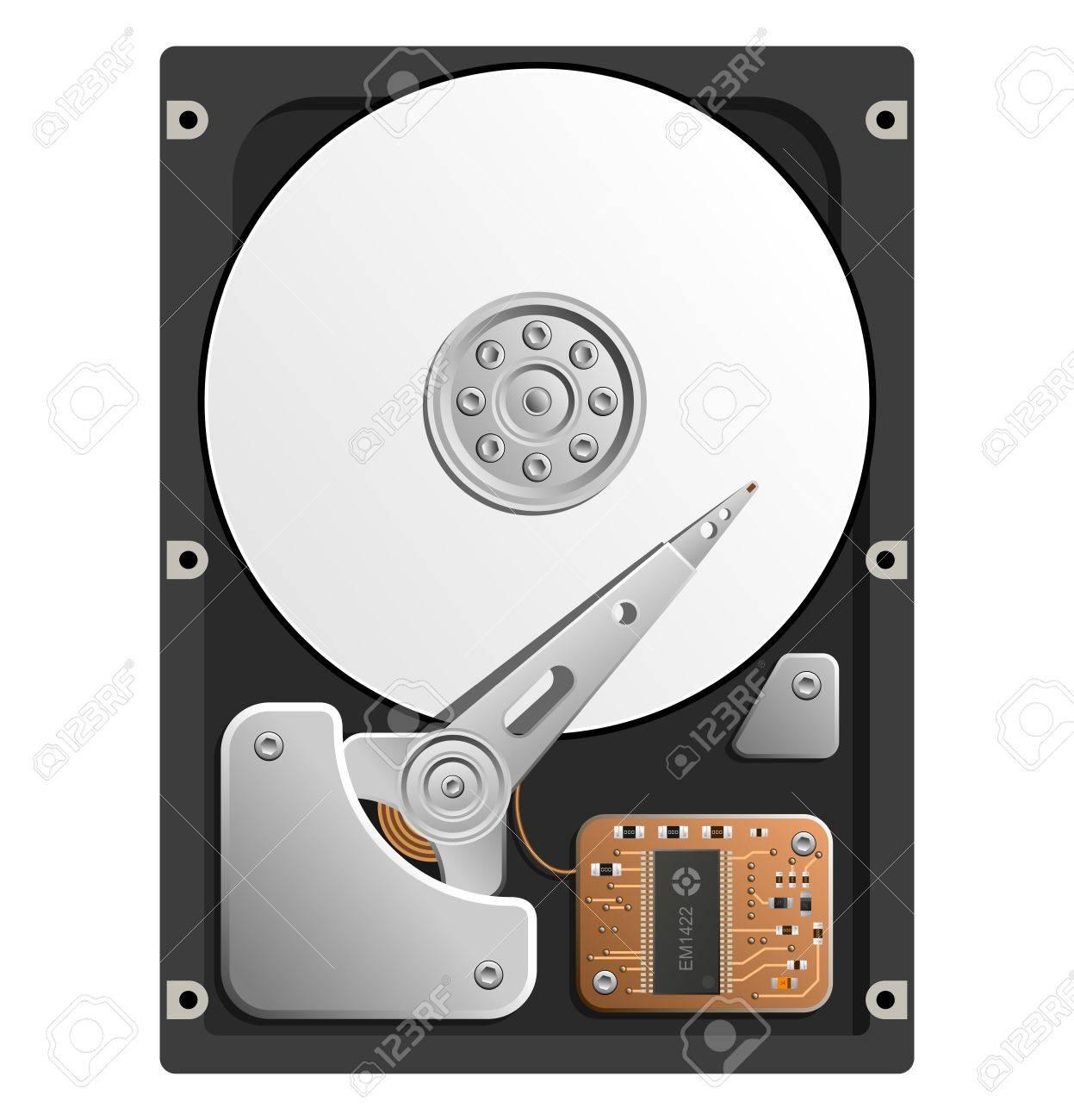 HDD のベクター イラストです。ハード ディスク ドライブは、白い背景 ...
