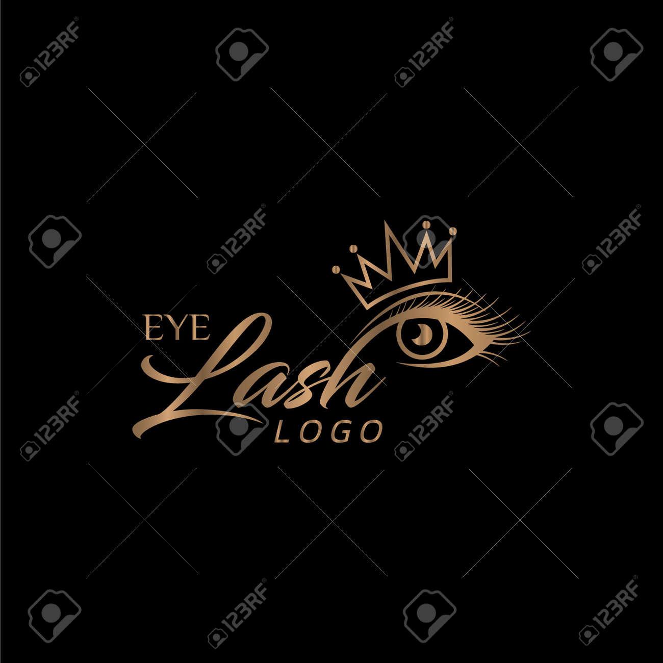 Eyelash Logo with Crown - 158656022