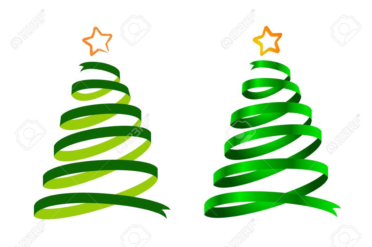 Dos rboles De Navidad Verde Cinta Dibujos Animados Y Realista