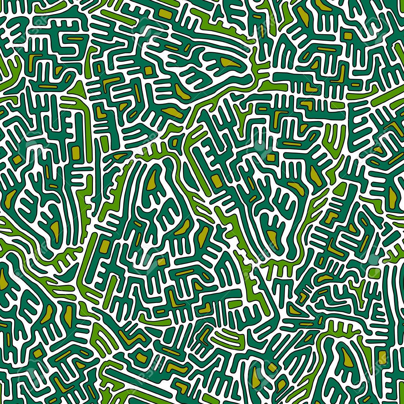 Labyrinth abstract seamless pattern in green and yellow colors Stock Vector - 17270769