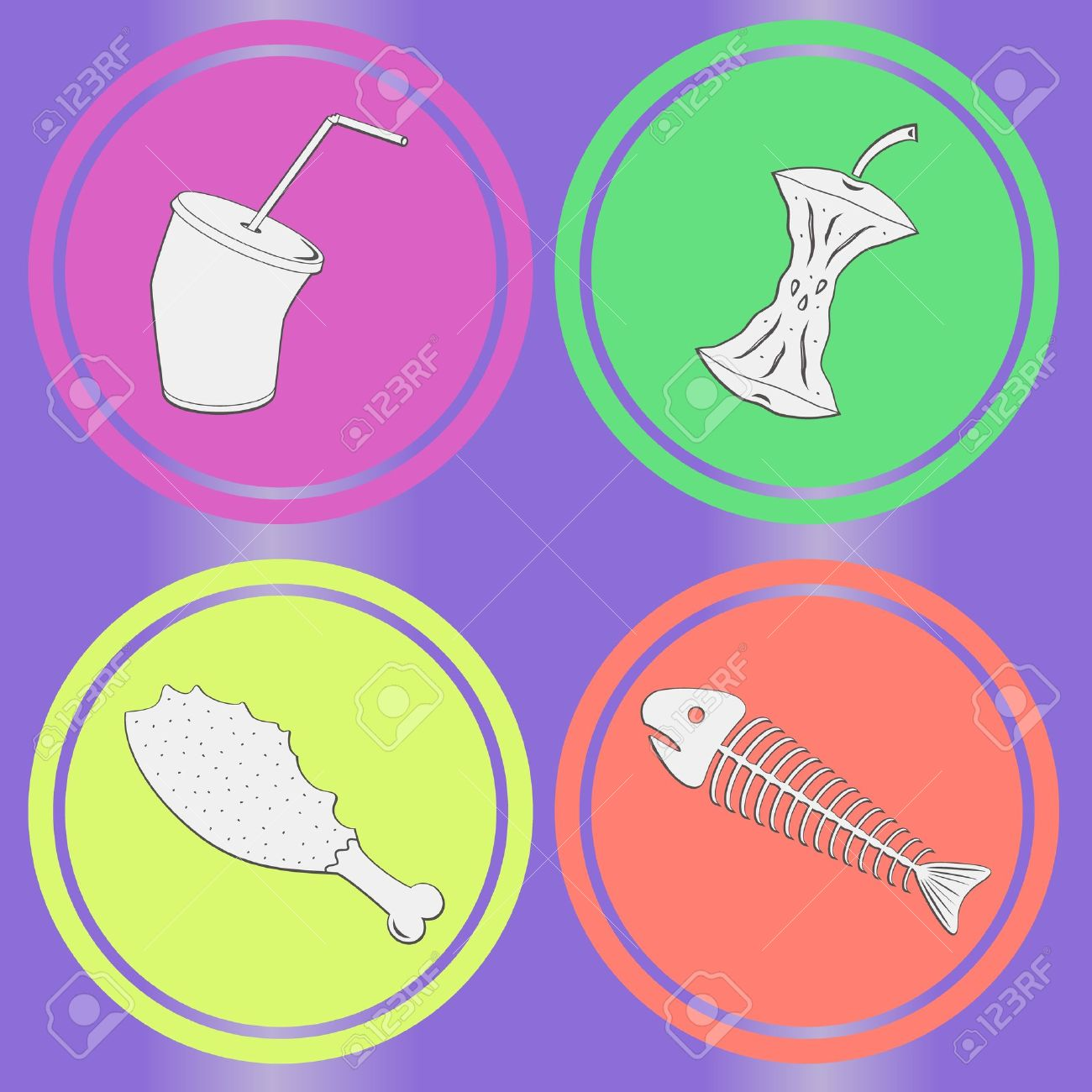 Food leavings  fish, apple, chicken, drink  on purple background Stock Vector - 18146872
