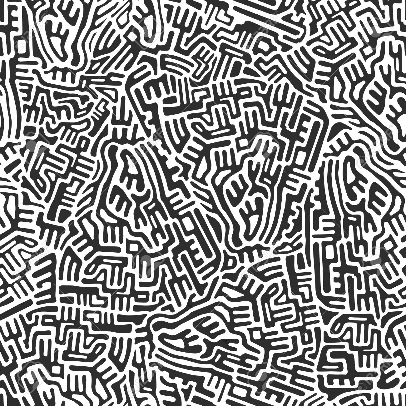 Labyrinth abstract seamless pattern in gray color on white background Stock Vector - 18931764