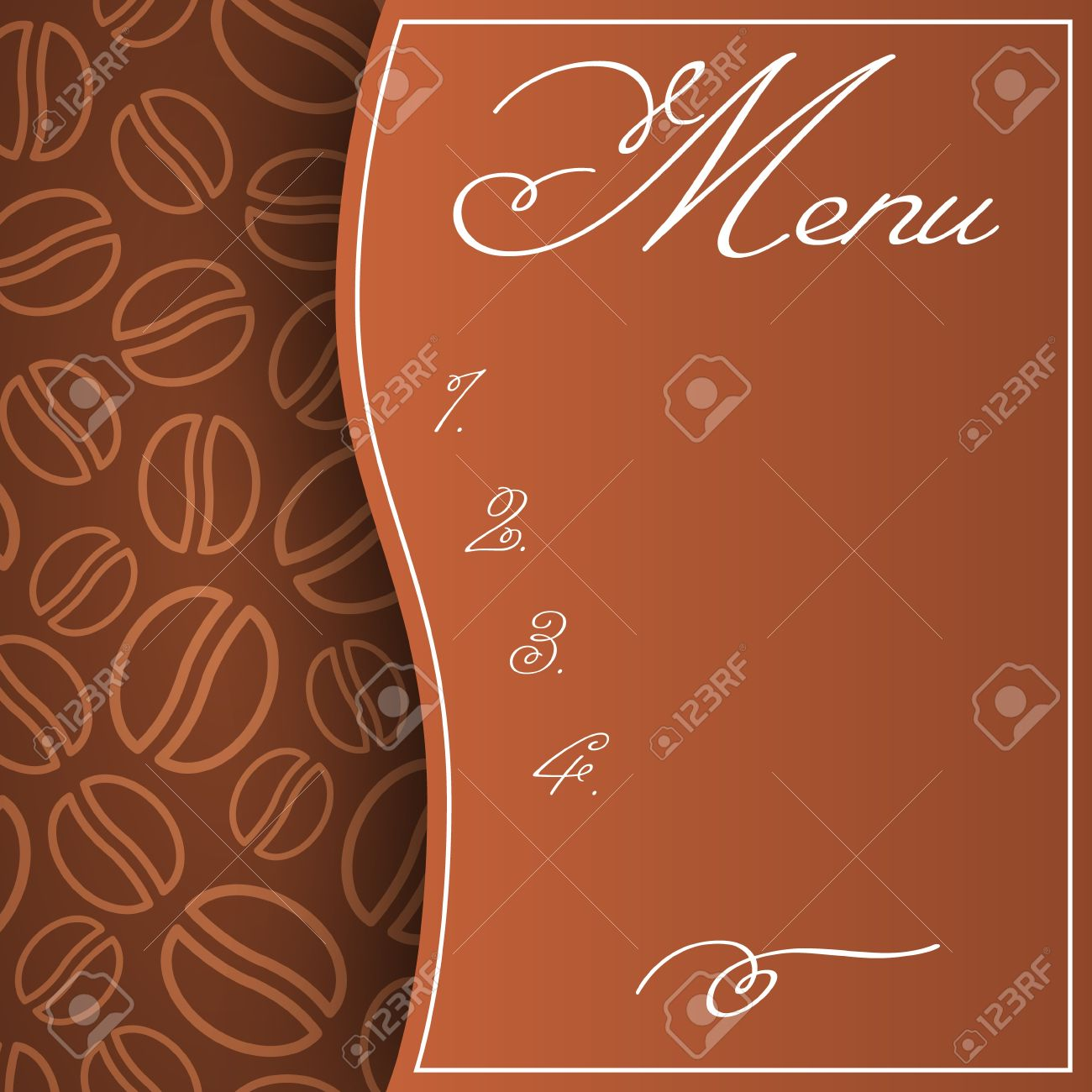Abstract menu pattern in brown colors with coffee beans background Stock Vector - 21261478