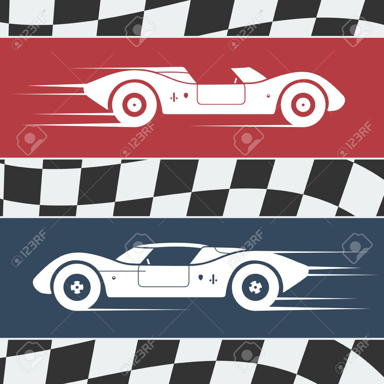 Design car flags - Finish Line Car Two Fast Moving Vintage Race Cars On Checkered Flag Background