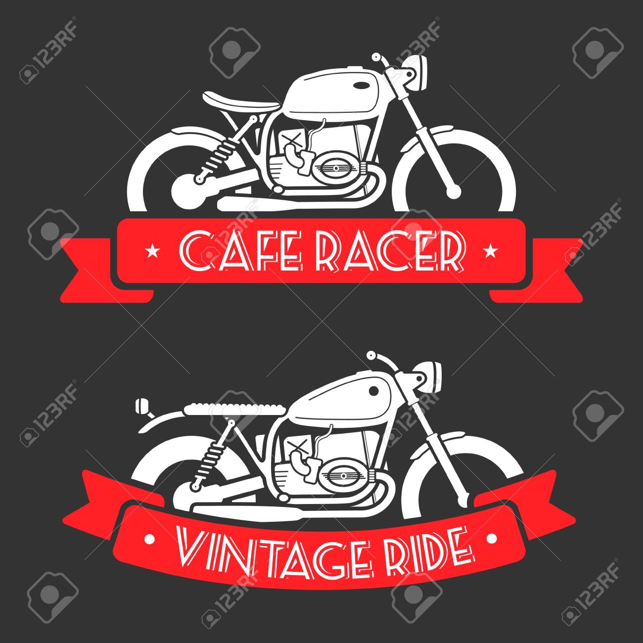 Flat Looking Emblems With Classic Motorcycles And Red Ribbons ...